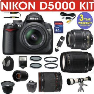 NIKON D5000 (IMPORT) + NIKON 18 55mm VR LENS + NIKON 70 300mm G ZOOM LENS + VIVITAR 500mm MIRROR LENS + 2X TELECONVERTER LENS + .40X SUPER WIDE ANGLE FISHEYE LENS + 650 1300mm Zoom Lens + 8GB HIGH SPEED MEMORY CARD CLASS 10 + 3 YEAR WORLDWIDE WARRANTY  Di