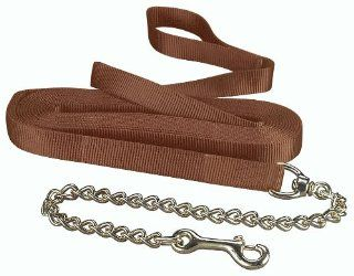 "Hamilton 1 Single Thick Nylon Horse Longe Line with Snap 26 Feet with 24"" Chain, Brown  Pet Training Leads"
