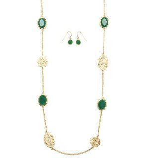 "Heirloom Finds Emerald Green and Gold Tone Filigree Long Station Necklace 36"" Jewelry"