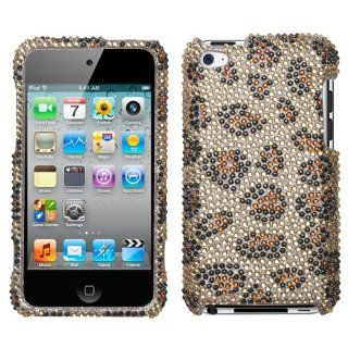APPLE IPOD TOUCH ITOUCH 4TH GENERATION BROWN AND TAN CHEETAH LEOPARD PRINT DESIGN FULL DIAMOND CRYSTAL HARD CASE COVER