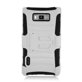 [ManiaGear] White/Black Combat Heavy Duty Case for LG Optimus Showtime L86C/L86G + ManiaGear Screen Protector Cell Phones & Accessories