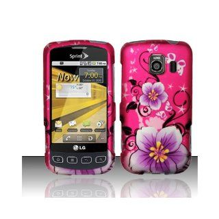 Purple Pink Flower Hard Cover Case for LG Optimus S LS670 Cell Phones & Accessories
