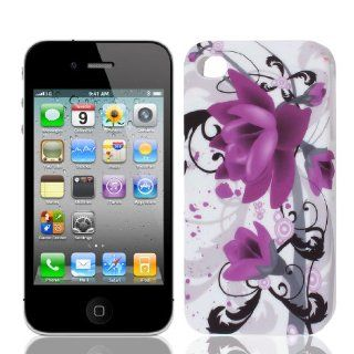 Purple Black Magnolia Flower TPU Soft Case Cover for Apple iPhone 4 4G 4S 4GS Cell Phones & Accessories