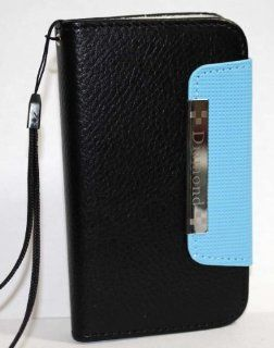 Light Blue with Black Clasp Book Style Leather Pouch + Built in Hand Strap + Credit Card Slots for Apple iPhone 5 Cell Phone Carrying Case / Pouch Clasp Cell Phones & Accessories