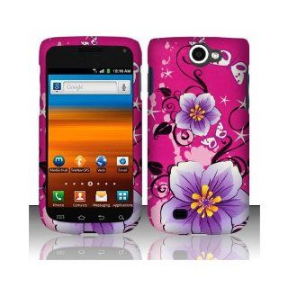 Purple Pink Flower Hard Cover Case for Samsung Galaxy Exhibit 4G SGH T679 Cell Phones & Accessories