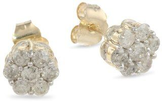 10k Yellow Gold Diamond Stud Earrings (1 cttw, I J Color, I2 I3 Clarity) Jewelry