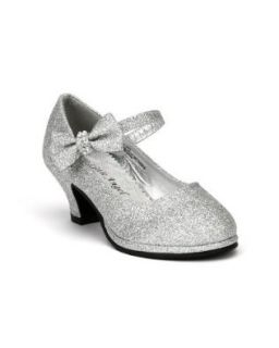 Little Angel Tasha 685E Glitter Bow Mary Jane Pump (Toddler/Little Girl /Big Girl)   Silver (Size Toddler 9) Shoes