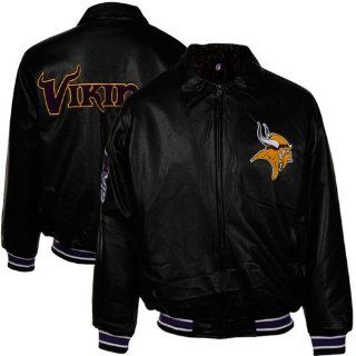 NFL Minnesota Vikings Fashion Faux Leather Jacket   Black  Sports Fan Outerwear Jackets  Sports & Outdoors