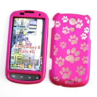 "Samsung Epic 4G (Sprint) Snap On Protector Hard Case ""Pink Paw Prints"" Design Cell Phones & Accessories"