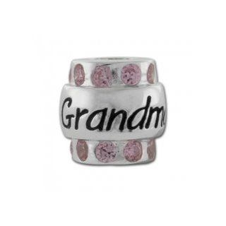 Grandma Sterling Silver Charm Bead with Pink CZs Carlo Biagi for European Bead Bracelets Fits Most Brands Jewelry