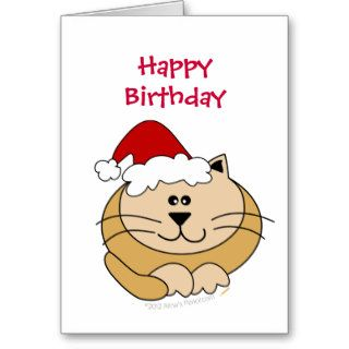 Meowy Christmas Cute Cartoon Cat Happy Birthday Cards