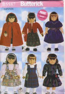 "Butterick Sewing Pattern   5587   Use to Make   18"" Doll Clothes   Cape, Dress, Jumper, Shirt, Skirt, Tights, Shoes, Bag   Includes Knitting Instructions for Sweater"