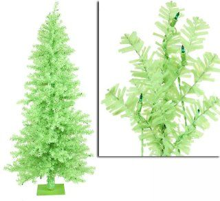 7.5' Pre Lit Chartreuse Green Wide Cut Artificial Christmas Tree  Green Lights
