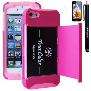 Rugged High Impact Credit Card Holder Wallet Soft + Hard Hybrid Combo Case Cover for Apple iPhone 5/5S + Stylus + Screen Protector   Hot Pink & Pink Cell Phones & Accessories