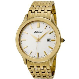 Seiko Men's SKK704 Ivory Dial Gold Tone Stainless Steel Watch Watches