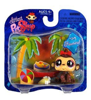 "Hasbro Year 2008 Littlest Pet Shop Exclusive Single Pack ""Fanciest"" Series Bobble Head Pet Figure Set #714   Tropical MONKEY with Red Bow and Banana (23941) Toys & Games"