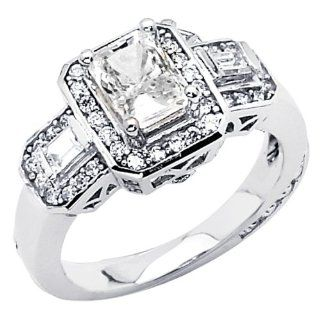 14K White Gold High Polish Finish Emerald cut 1.85 CTW Equivalent Top Quality Shines CZ Cubic Zirconia Ladies Solitaire Wedding Engagement Ring Band Jewelry