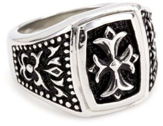 "Maksim ""MC by Maksim"" Stainless Steel Symmetrical Cross Men's Ring Jewelry"