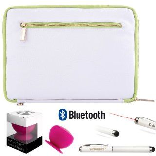 Faux Leather Carrying Bag Sleeve Case For Dell Venue 11 Pro Windows 8 Tablet + HD Noise Filter Earphones Handsfree + Stylus Pen w/ Laser Pointer Computers & Accessories