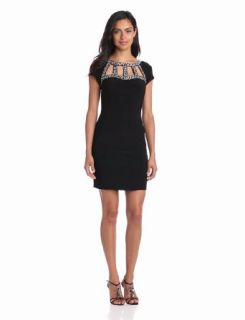 Hailey by Adrianna Papell Women's Embellished Neck Short Sleeve Dress, Black, 4