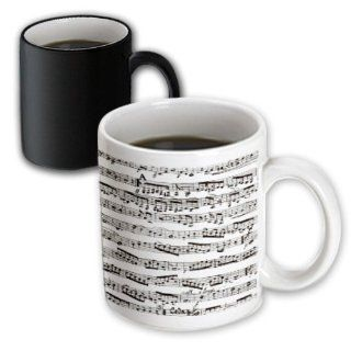 3dRose Musical Notes Vintage Sheet Music Black and White Piano Notes, Magic Transforming Mug, 11 Oz Kitchen & Dining