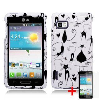 LG OPTIMUS F3 LS720 BLACK WHITE KITTY CAT COVER SNAP ON HARD CASE + FREE SCREEN PROTECTOR from [ACCESSORY ARENA] Cell Phones & Accessories
