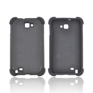 For Samsung Galaxy Note Black Perforated Dual Layer Hard Silicone Case Cover Cell Phones & Accessories