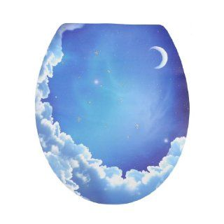 Decorative Blue Sky Moon Pattern Removable Sticker Decal Toilet Lid Seat Cover