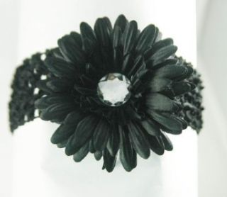 3 in 1 Gerber Daisy Flower Hair Clip Bow on Soft Stretch Crochet Child Headband fits Babies to Toddlers to Youth Girls, Black on Black headband Clothing
