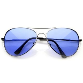 Aviator Fashion Sunglasses Silver Frame Blue Lens for Men and Women Shoes