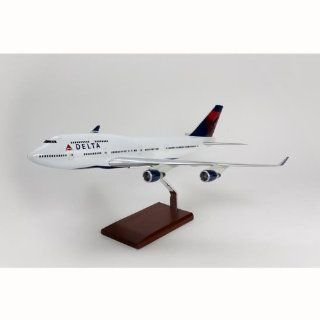 B747 400 Delta Quality Desktop Model Plane 1/100 Scale / Unique and Perfect Gift Idea / Museum Quality Handcrafted Commercial Jet Airliner Replica Display / Collectible Gift Toy Toys & Games