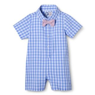 G Cutee Newborn Boys Short Sleeve Gingham Romper   Nautical Blue 3 6 M