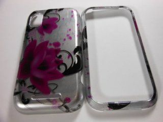 HARD PHONE CASES COVERS SKINS SNAP ON FACEPLATE PROTECTOR FOR MOTOROLA FLIPSIDE MB508 AT&T / PURPLE HAWAIIAN FLOWER BLACK VINE ON SILVER (WHOLESALE PRICE) Cell Phones & Accessories