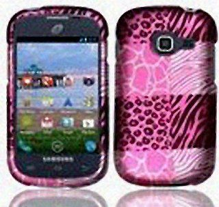 Pink Leopard Zebra Print Hard Cover Case for Samsung Galaxy Centura SCH S738C Straight Talk Cell Phones & Accessories