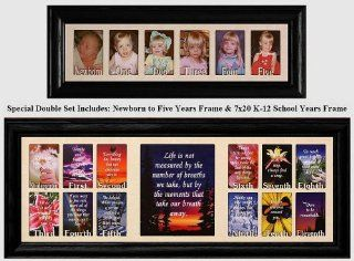 NEWBORN to FIVE YEARS & 7x20 K 12 SCHOOL YEARS FRAME ~ Cream Marble Mat with BLACK Frames ~ Double Frame Set   Picture Frames