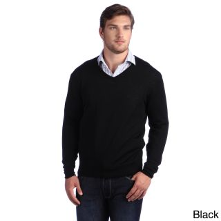 Luigi Baldo Luigi Baldo Italian Made Mens Fine Gauge Merino V neck Sweater Black Size 2XL