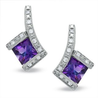 Square Amethyst Earrings in 14K White Gold and Diamond Accents   Zales