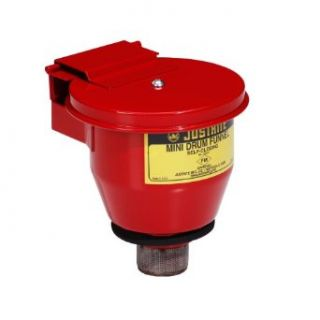 "New Pig DRM753 Steel Mini Safety Drum Funnel with Self Closing Lid, 4 1/2"" Diameter x 7"" Height, Red, For 5 Gallon Steel Pails with 2"" NPT"