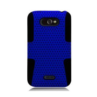 Eagle Cell PHLGMS770NTBKBL Progressive Hybrid Protective Gummy TPU Mesh Defense Case for LG Motion 4G/Optimus Regard MS770   Retail Packaging   Black/Blue Cell Phones & Accessories