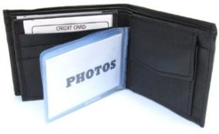 Mens Black Leather Wallet Lamb Bifold W Coin Pouch 756 at  Men�s Clothing store