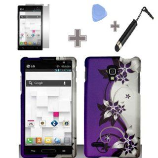 Rubberized Purple Silver Vines flower Snap on Design Case Hard Case Skin Cover Faceplate with Screen Protector, Case Opener and Stylus Pen for LG Optimus L9 / P769 / P760 / T Mobile Cell Phones & Accessories