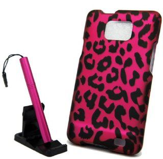 5pcs combo for AT&T Samsung Galaxy S2 S II SGH i777 Hot Pink Leopard Design Rubberized Snap on Hard Cover Shield Case, pink aluminum capacitive stylus pen, adjustable mini phone stand, lcd screen protector film, case opener Cell Phones & Accessori