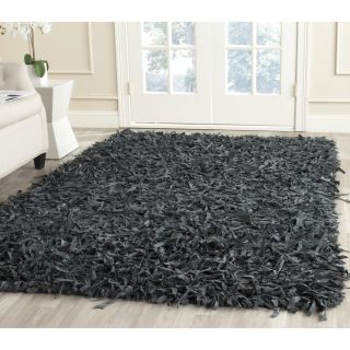 Safavieh Handmade Leather Shag Grey Leather Rug (8 Square)