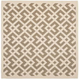 Safavieh Indoor/ Outdoor Courtyard Brown/ Bone Polypropylene Rug (53 Square)