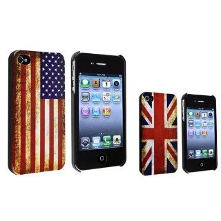 eForCity 2 pack Snap on Cases Retro US Flag / UK Flag Compatible with Apple®iPhone®4 / 4S Cell Phones & Accessories