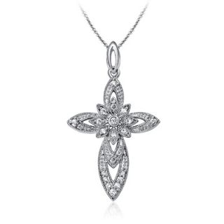 CT. T.W. Diamond Vintage Style Cross Pendant in Sterling Silver