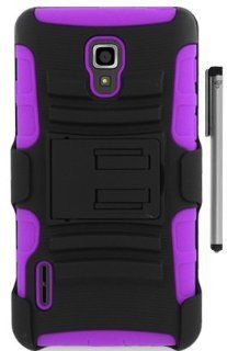 For LG Optimus F7 US780 Belt Clip Hybrid Holster Kickstand Cover Case with ApexGears Stylus Pen (Black Purple) Cell Phones & Accessories