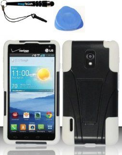 3 Item Combo LG Optimus F7 US780 4G LTE (Boost US Cellular)   PC+SC HYBRID Case Phone Cover Protector w Kickstand   White HYB + IMAGITOUCH(TM) Stylus Pen and Pry Tool Cell Phones & Accessories