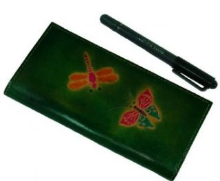 Real Leather Check Book Cover, Butterfly and dargonfly Patterns Embossed on Both Side. (Green) Fashion Swimwear Cover Ups