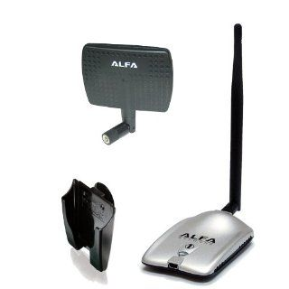 Alfa AWUS036H High power 1000mW 1W 802.11b/g High Gain USB Wireless Long Rang WiFi network Adapter with 5dBi Rubber Antenna and a 7dBi Panel Antenna and Suction cup / Clip Window Mount   for Wardriving & Range Extension Computers & Accessories